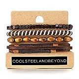 COOLSTEELANDBEYOND 4 Braun Wickeln Um Strap Armband Herren Damen, Multi-Strang Perlen Holz Armband, Lederarmband Baumwolle Schweissband