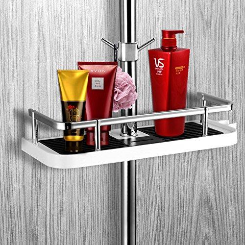 SANLINKEE Duschstangen Ablage Duschablage Zum Hängen aus ABS Badezimmer Dusche Rack Ohne Bohren Bad Aufbewahrung Halter mit ABS Haken, Geeignet für 19mm ~ 25mm Zaun