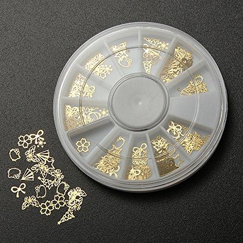 Bluelover 3D Nagel Kunst Gold Metall DIY Aufkleber Design Rad