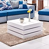360° Rotated High Gloss Coffee Table, Willstone Square Extendable Table for Living Room White