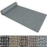 Teppich Läufer Carlton | Flachgewebe dezent gemustert | Teppichläufer in vielen Größen | als Küchenläufer, Flurläufer | mit Stufenmatten kombinierbar (Hellgrau - 80x300 cm)