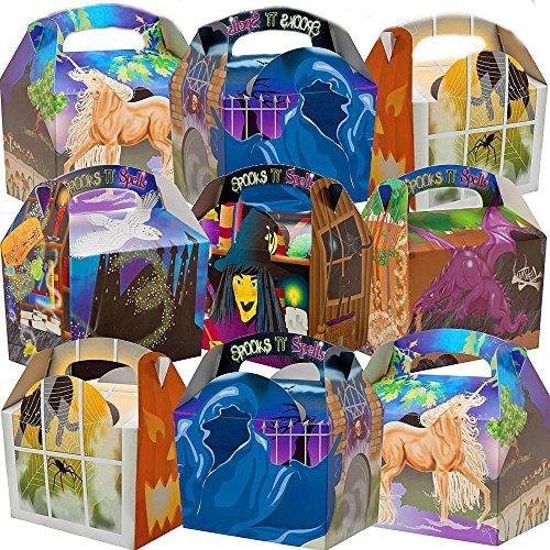 German Trendseller® - 12 x Halloween & Märchen Kistchen ┃ Kindergeburtstag ┃ Geheimnisvolle Boxen inkl. Tragegriff