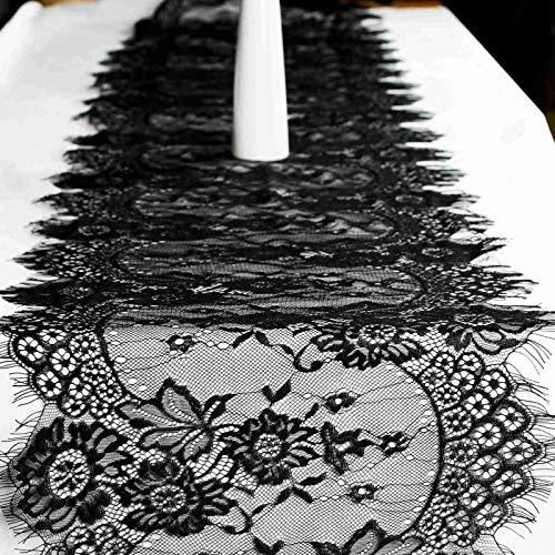 vlovelife schwarz Spitze Tischläufer, 35,6x 304,8cm Overlay Floraler Spitze Stoff für Hochzeit Party Xmas Tisch Decor (Spitzen-tischläufer Schwarz)