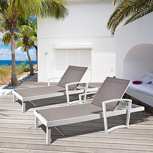 Outdoor Liegen Chaise Sun Lounge Stuhl Packung mit 1, All Weather Resistant Patio Beach Sling Klappstuhl, Anti-Rost Aluminium Rahmen (Samt Gepolsterte Tasche)