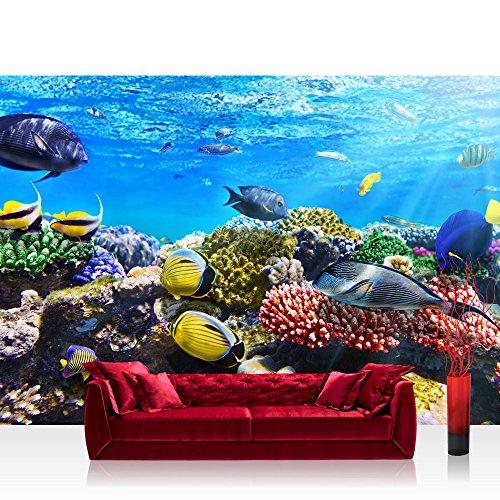 Vlies Fototapete 350x245 cm PREMIUM PLUS Wand Foto Tapete Wand Bild Vliestapete - UNDERWATER REEF - Aquarium Korallen Unterwasser Meer Fische Riff Korallenriff - no. 105
