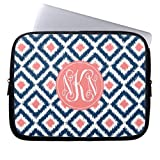 Laptop Case Monogram Coral and Blue Ikat Pattern Computer Sleeve 15 15.4 Inch Fashionable Computer Case for Laptop Ultraportable Neoprene Waterproof Case for Dell HP Samsung Ultrabook Asus Twin Sides