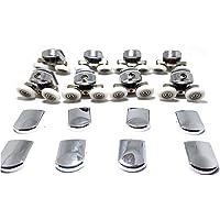 Lot de 8 roues de fixation de rechange pour porte de douche en verre - 4 roues inférieures et 4 roues supérieures - Pour…