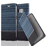 Cadorabo Hülle für Samsung Galaxy S7 - Hülle in DUNKEL BLAU SCHWARZ – Handyhülle mit Standfunktion und Kartenfach im Stoff Design - Case Cover Schutzhülle Etui Tasche Book