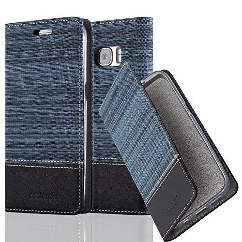 Preisvergleich Produktbild Cadorabo Hülle für Samsung Galaxy S7 - Hülle in DUNKEL BLAU SCHWARZ – Handyhülle mit Standfunktion und Kartenfach im Stoff Design - Case Cover Schutzhülle Etui Tasche Book