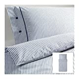IKEA NYPONROS weiß blau Bettwäscheset 2 teilig 140x200cm und 80x80cm Kopfkissen Bettbezug 100% Baumwolle