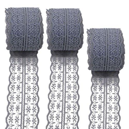 3Rollen 10Meter Floral Spitze Band Stretch Lace Trim Elastic Gurtband Stoff für selbstgemachten Schmuck Craft Hochzeit Zubehör Geschenkverpackungen, grau, 45mm x10m - Stretch-band-sandale