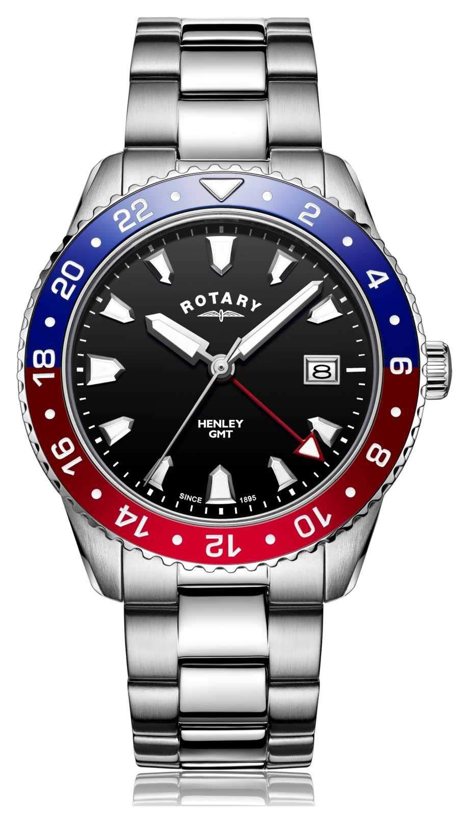Rotary   Gents Stainless Steel Bracelet   Black Dial   GB05108/30