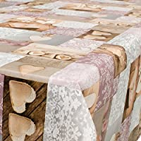 Hule, mantel encerado para mesa, lavable, diseño de corazones, tamaño a elegir, plástico, carbón, 180 x 140cm