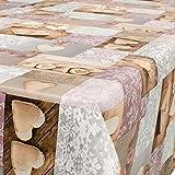 Wachstuch Wachstischdecke Tischdecke abwaschbar Liebe Herz Spitzenoptik 180 x 140cm