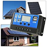 HG® 20A Solarladeregler Solar Regler LCD Solar Panel Laderegler PWM Controller Batterie Intelligenz mit Dual USB LED-Anzeige 12V-24V Überlastschutz Temperatur Kompensation