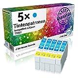 N.T.T.® 5 x Stück XL Druckerpatronen / Tintenpatronen kompatibel zu T1812 C / Blau Epson Expression Home XP-102 ; XP-202 ; XP-205 ; XP-30 ; XP-302 ; XP-305 ; XP-402 ; XP-405 ; XP-405WH; XP-212 ; XP-215 ; XP-312 ; XP-315 ; XP-412 ; XP-415