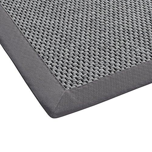BODENMEISTER Teppich Sisal-Optik Flachgewebe modern hochwertige Bordüre, verschiedene Farben und Größen, Variante: hell-grau, 60x110