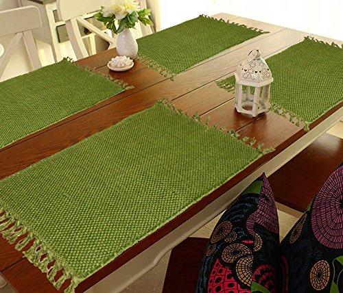 Green Plain Table Mat / Table Runner / Place- Mat Set of...