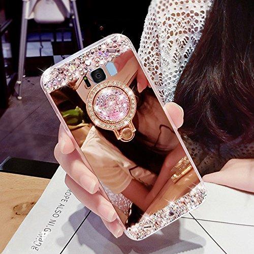 Preisvergleich Produktbild Girlyard Silikon Glitzer Hülle für Galaxy S8 Spiegel Rose Gold,  Ultra Slim Weiche TPU Bumper Luxus Bling Diamant Schutzhülle pour Samsung S8 Crystal Clear Backcover mit 360 Grad Strass Ring Ständer pour Samsung Galaxy S8