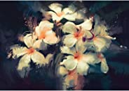Pitaara Box Artwork Showing Beautiful White Flowers Canvas Painting MDF Frame 17 X 12Inch