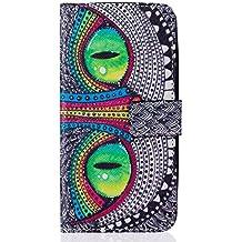 Qiaogle Teléfono Case - Funda de PU Cuero Billetera Clamshell Carcasa Cover para Asus ZenFone 2 Laser 5.0 ZE500KL (5.0 Pulgadas) - YH20 / Azul Ojos búho
