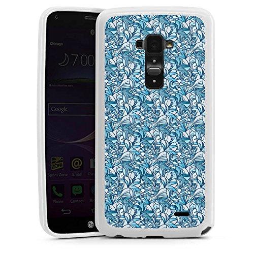 LG G Flex Silikon Hülle Case Schutzhülle Lilien Blue Blau (Flex-lilie)