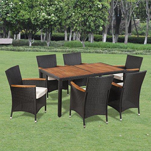 Fesjoy Set di mobili da Giardino Patio Conservatory Indoor Set di sedie da Tavolo da Pranzo 6 posti 6 sedie in Rattan con Cuscini di Seduta 13 pz Mobili da Esterno Polirattan Piano Tavolo in Acacia