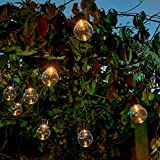 Auraglow Set of 10 Solar String Festoon Lanterns LED Fairy Lights Retro Garden Lamps - Clear Cover