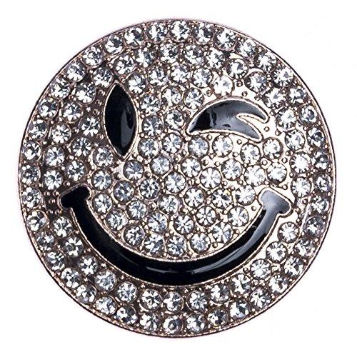 StarAppeal Magnet Schmuck Anhänger Smiley Gold mit Strass für Kleidung, Schals, Tücher und Ponchos, Brosche, Damen Accessoires Smiley (Gold Groß)
