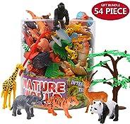 ValeforToy Animals Figure,54 Piece Mini Jungle Animals Toys Set with Gift Box, Realistic Wild Animal Learning