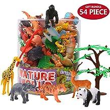 Figuras Animales, Conjunto de Juguetes Animales de Mini Selva de 54 Piezas, Recursos de Aprendizaje y Favoritos de Fiesta de Animales de Plástico de Vinilo Salvaje Simulado del Mundo Zoológico para Chicos y Niños, Conjunto de Juguetes de Animales de Granja Pequeños de Bosque para los Niños