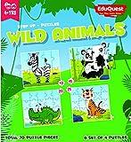 #7: EduQuest - Jigsaw Puzzle - Wild Animals - 4+ years old - Set of 4 puzzles - 10,15,20,25 piece puzzles - Zebra(10 piece), Panda(15 piece), Alligator(20 piece), Tiger(25 piece)