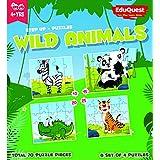 EduQuest - Jigsaw Puzzle - Wild Animals - 4+ Years Old - Set Of 4 Puzzles - 10,15,20,25 Piece Puzzles - Zebra(10 Piece), Panda(15 Piece), Alligator(20 Piece), Tiger(25 Piece)
