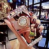 iPhone SE Hülle,iPhone 5S Hülle,iPhone 5 Hülle,[Ring Ständer] Glänzend Glitzer Strass Diamant Überzug Spiegel TPU Silikon Handy Hülle Tasche Silikon Handyhülle Schutzhülle für iPhone SE/5S/5,Rose Gold