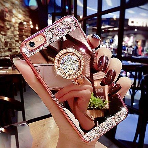 Kompatibel mit iPhone SE Hülle,iPhone 5S Hülle,iPhone 5 Hülle,Ring Ständer] Glänzend Glitzer Strass Diamant Überzug Spiegel TPU Silikon Hülle Tasche Handyhülle Schutzhülle für iPhone SE/5S/5,Rose Gold