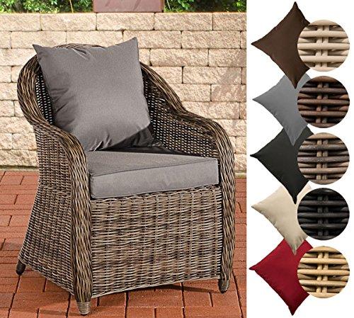 CLP Polyrattan-Sessel FARSUND inklusive Sitzkissen I Robuster Gartenstuhl mit Einem Untergestell aus Aluminium I erhältlich Rattan Farbe grau-meliert, Bezugfarbe: Eisengrau