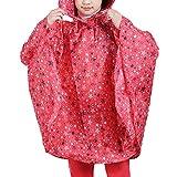 Yaodgfa Regenmantel Kinder Regenponcho Unisex mit Kapuze Wasserdicht Regencape für Jungen Mädchen- Gr. Höhe:125-150cm, Rot