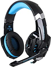 Kotion Each: Over the Ear Headsets with Mic & LED - G9000 Edition for PC/ iPad/ iPhone/ Tablets/ Mobile Phones (Black/Blue)