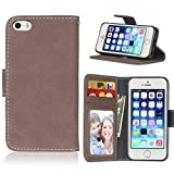 BONROY iPhone SE 5S 5 PU Ledercase Tasche Hüllen Schutz Hülle Scratch Magnetverschluss TelefonKasten Handy Hülle Standfunktion Handycover