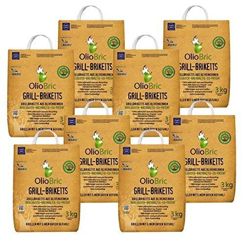 OlioBric Grillbriketts aus Olivenkernen, 24kg Ohne Rauch Kein Holz Keine Funken Lange Brenndauer 100% Recycelte Grillkohle-Briketts für Jeden Grill | Umweltfreundliche & rauchfreie Kohle Zum Grillen