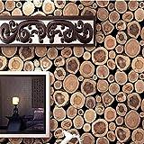 Pmhhc Rustikale Faux-Klotz-Holz-Tapeten-Rollenvinyldunkelbraunes Natur-Weinlese-Tapeten-Wandverkleidung Für Wohnzimmer Hintergrund