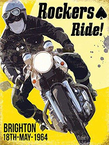 Motor Cycle-rockers Ride Targa in metallo-groesse15X 20cm