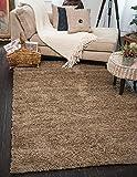 A2Z Rug (140x200 cm (4ft7 x 6ft7) Dark Beige) Cozy Shag Collection Solid 5.5 cm Pile Shag Rug Contemporary Living & Bedroom Soft Shaggy Area Rug, Carpet