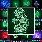 3D Lampe 3D Leuchte 3D LED Stimmungslicht. 7 Farben - 81 verschiedene Motive, hier Schildkröte ca.21x11cm inkl. Sockel - 3D Illusion Dekolicht mit USB Anschluß und 220V USB Netzteil