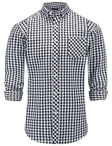 JEETOO Moderne Herrenhemden Gestreift Slim Fit Langarm Hemd Männer Hemd Freizeit Bügelleicht Schwarz Kariert