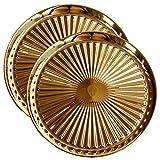 TAMUME Escurridor Aceite de Cocina Plato De Porcelana con Crestas Escurrir el Exceso de Aceite de Comida Frita, Juego de 2 Platos - Oro Bandejas para Servir (Oro *2)