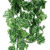 10 Stück Efeugirlande Künstlich Hängende Rebe 2.35M, 30stücke der blätter Efeu Efeuranke Kunstblumen für Hochzeit Party Garten Festival Dekorationen Wanddekoration