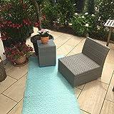 Outdoor Teppich türkis-weiß Kunststoffteppich Wetterfest UV Beständig Federleicht aus recyceltem Kunststoff