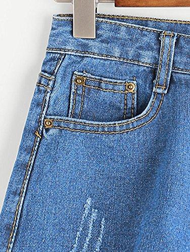 ROMWE Damen Blumen Applikation Sommer Denim Jeans Shorts Blau