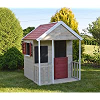 Casa infantil de madera para el jardín con pizarra